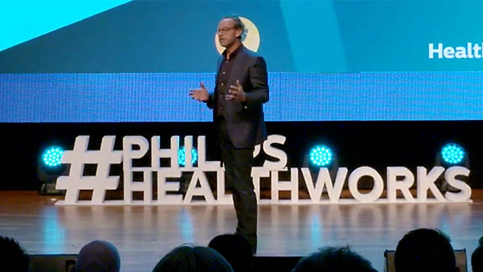 Jeroen Tas, chief of Innovation and Strategy at Philips, speaks at Global Breakthrough Day 2018